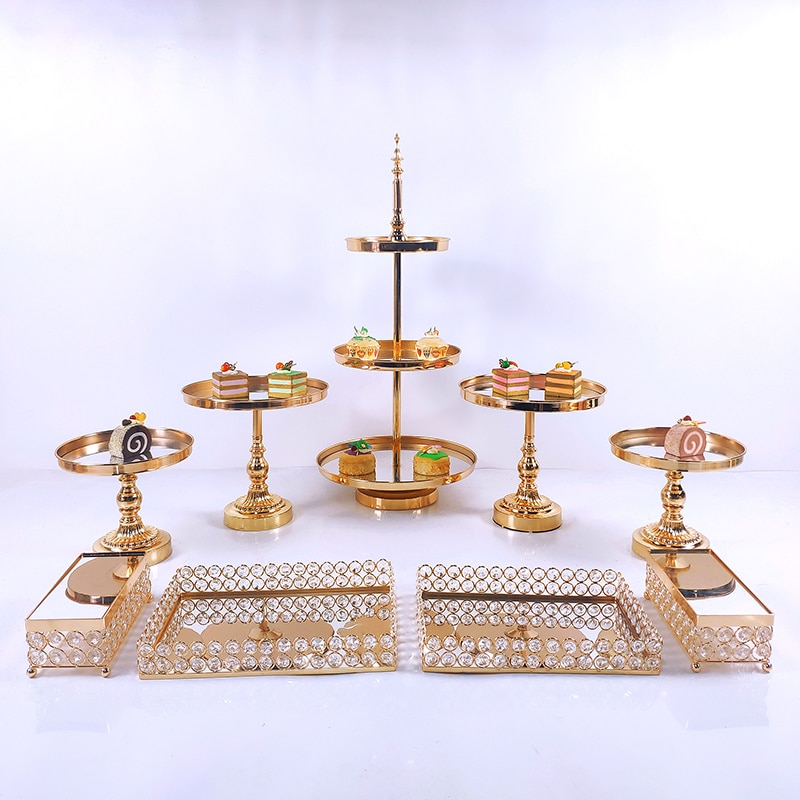 8-16 PC Crystal Metal Wedding Multi-Layer Cake Stand Rack Set Festival Party Display Tray