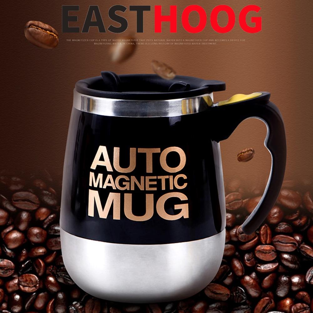 Taza magnetizada de acero inoxidable, taza automática autorremovible, taza mezcladora de café y leche, taza batidora inteligente perezosa, taza térmica