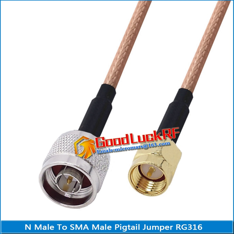 1x pcs high quality sma male to rp sma rpsma rp sma male plug coaxial pigtail jumper rg316 cable gold low loss sma to rpsma 1X Pcs High-quality N Male to SMA Male Coaxial Type Pigtail Jumper RG316 Cable SMA to N Low Loss