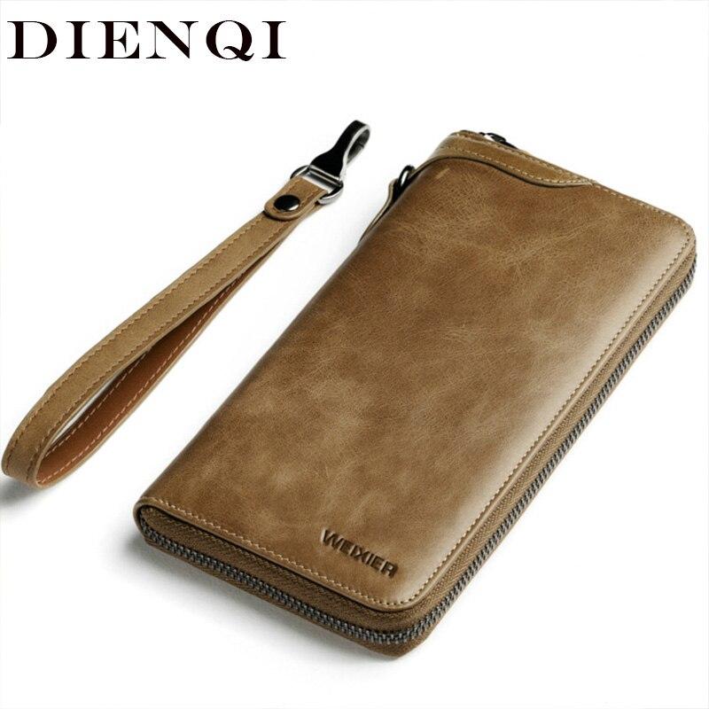 Genuine Leather Men Wallets Envelope Clutch Phone Wrist Purse Bag Business Vintage Long Wallet Man L