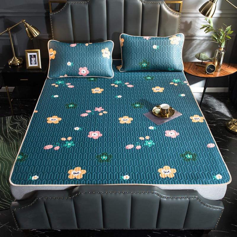 Sommer Kühlung Bett Matte Eis Silk Kühlung Matratze Latex Druck Faltbare Weiche Bettwäsche-sets Schlaf Kissenbezug Bett Schutz Matten