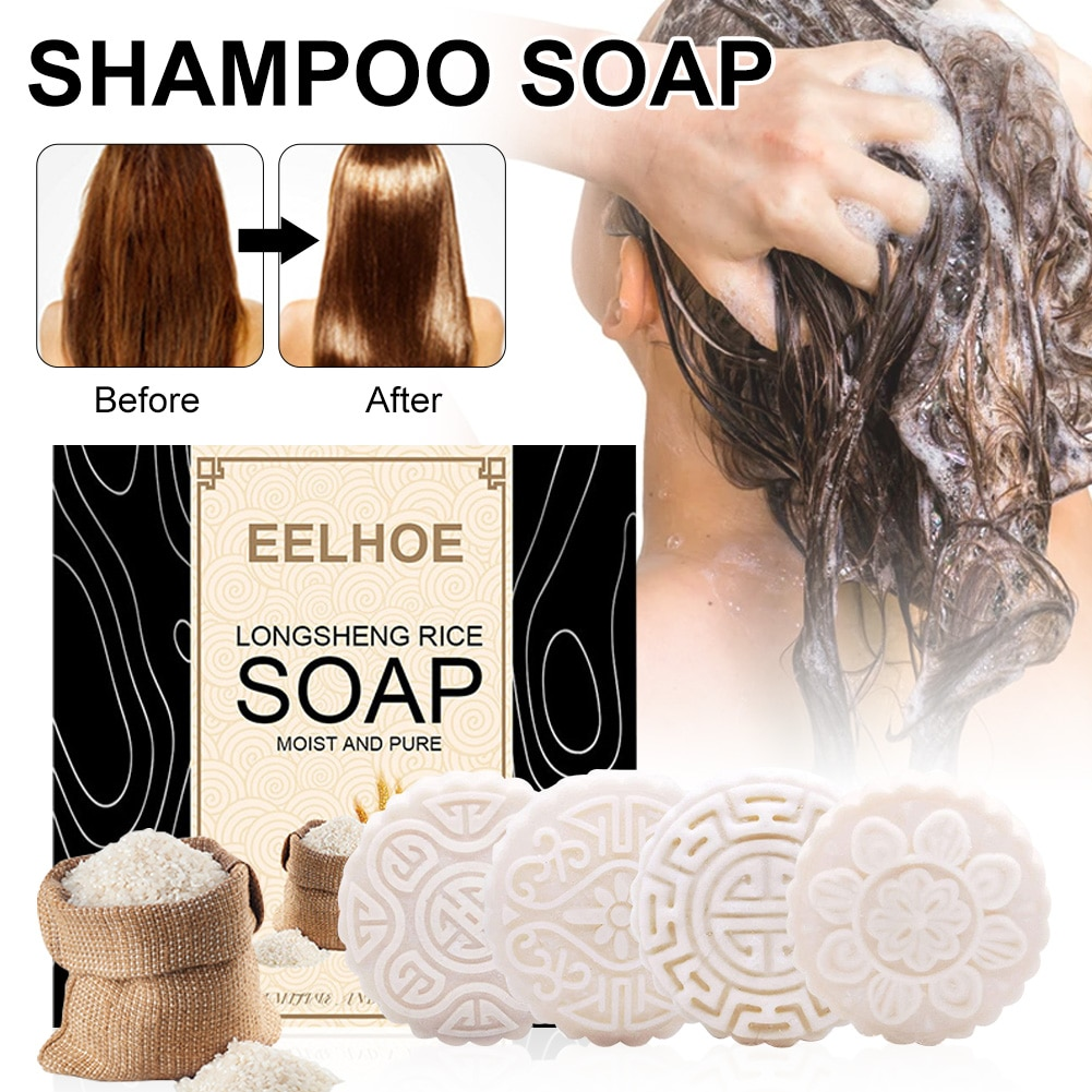 Фото - 4 цвета, Твердый шампунь для волос, мыло для раздельных сухих поврежденных волос, способствует росту волос, предотвращает выпадение волос, р... твердый шампунь для волос дегтярный 80г