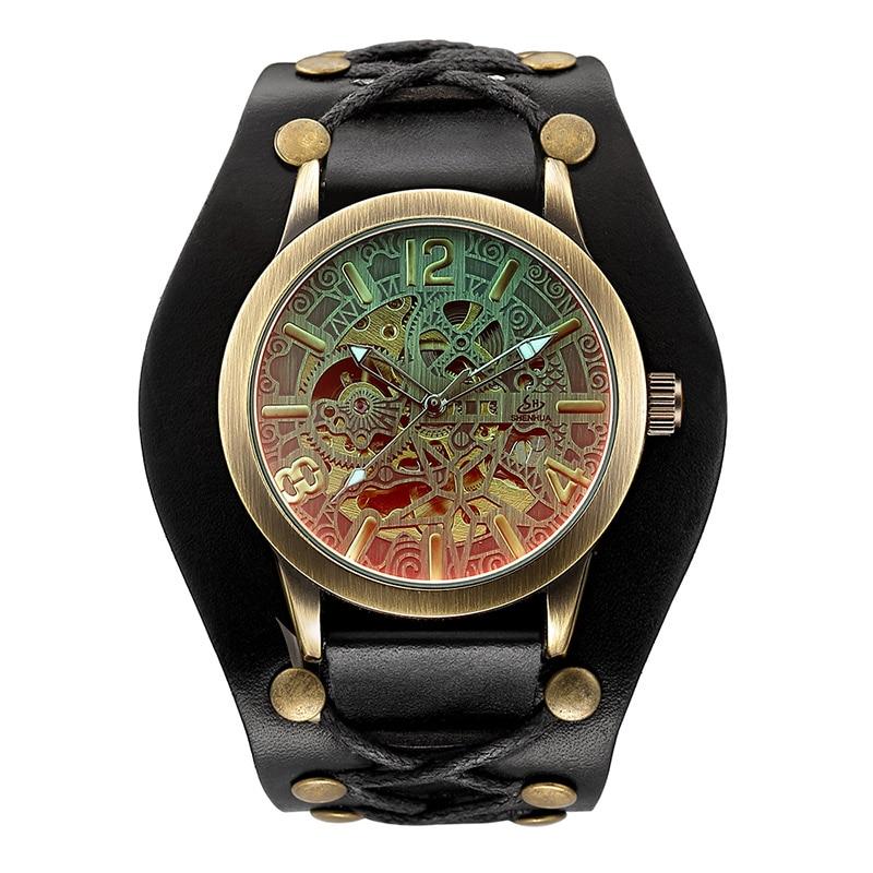 Man Watch Fashion Vintage Bronze Skeleton Mechanical Watches Men Waterproof Mechanical Automatic Wat