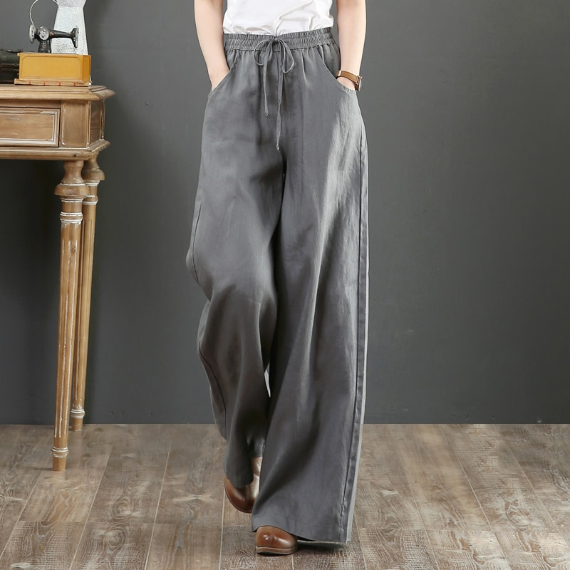 Pantalones de lino puro de talla grande, pantalones de pierna ancha con cordón de cintura elástica, pantalones de algodón y lino para mujer, pantalones largos de verano