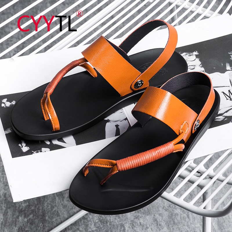 CYYTL Men's Flip Flops Sport Leather Strap Sandals Comfort Casual Beach Outdoor Slippers Home Summer Shoes Chanclas Hombre