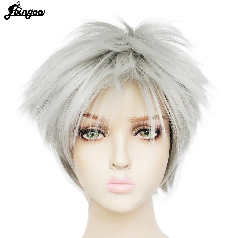 【Ebingoo】 Tokyo Ghoul Kaneki Ken Wig Short Straight Silver Grey Synthetic Cosplay Anime Wigs for Boys Costome Party Halloween