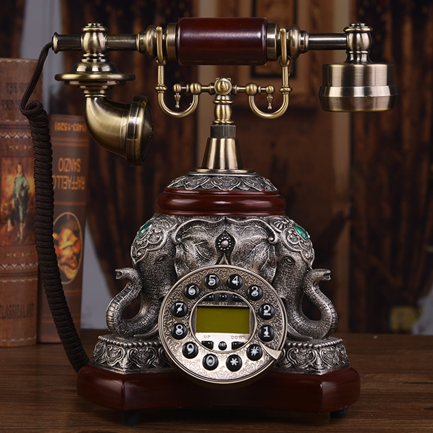 Antique Office Home Landline Telephone with Wood and Metal Body, Button Dial and Caller ID, Redial, Backlit Handsfree Calling