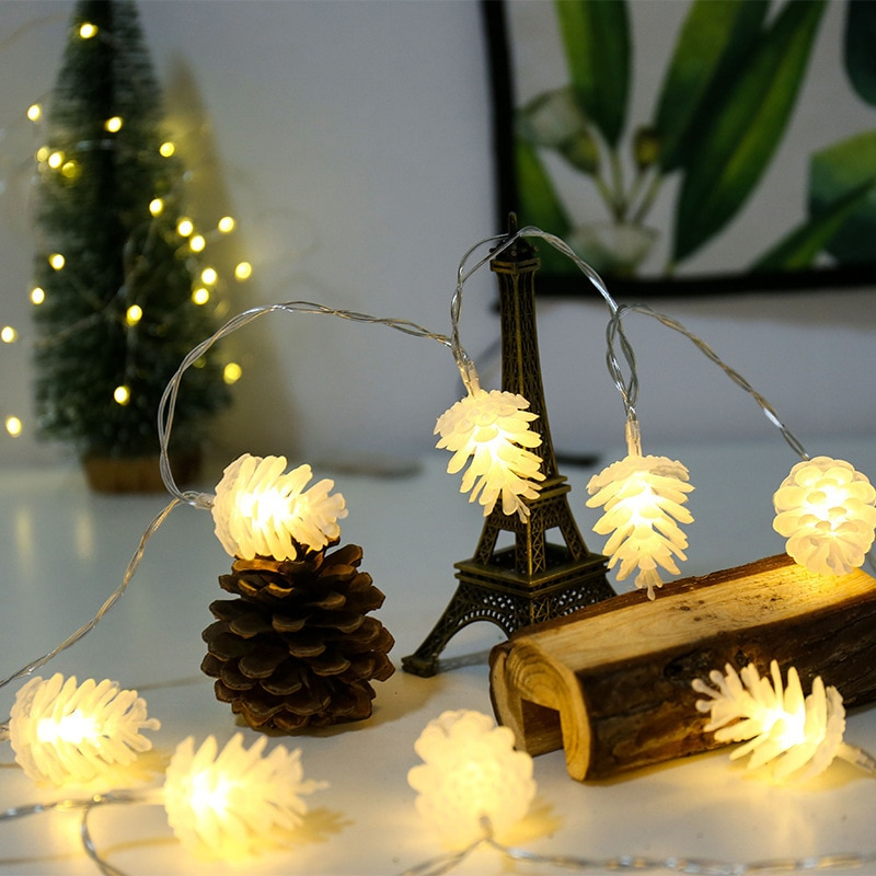 String Lights LED Christmas Pine Cone Light Curtain Light Indoor Outdoor Home Windows Decoration Christmas Tree Decoration Light