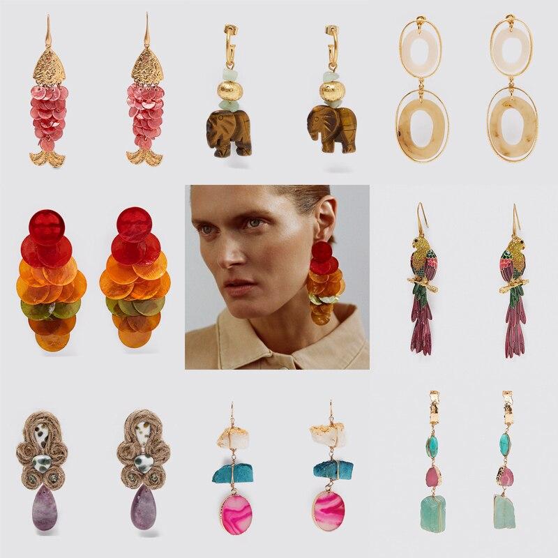Dvacaman 2020 Newest ZA Colorful Scale Earrings for Women Boho Unique Shell Fish Drop Earrings Dangle Summer Jewelry Accessories