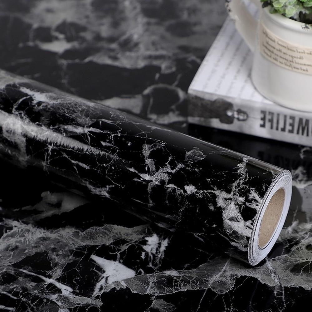 Новая кухонная самоклеящаяся контактная наклейка, домашние мраморные Обои для рабочего стола, глянцевая мебель для спальни, декор для кухн...