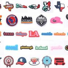 La migliore vendita 1 pz Croc scarpe Charms American State City Decoration Cartoon Texas Los Angeles dallas coma Colorado accessori