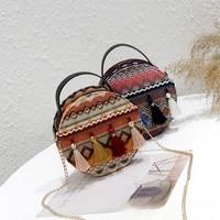 new trendy ethnic style woolen cloth portable chain mini round bag fairy tassel one shoulder messenger bag