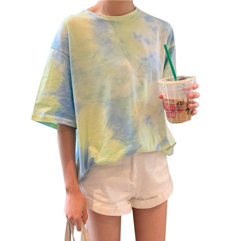 Женские футболки с галстуком-краской, летние женские футболки, топы с коротким рукавом, женские футболки, повседневные футболки, Женская Фу...