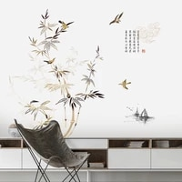chinese bamboo ink painting wall sticker living room bedroom home office decor aesthetic self adhesive vinyl wall decals mural