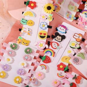 Fashion 5Pcs/Set Sweet Fruit Carton Animal Colorful Hairpin For Girls Cute Hair Clip Barrettes Headband Kids  Hair Accessories
