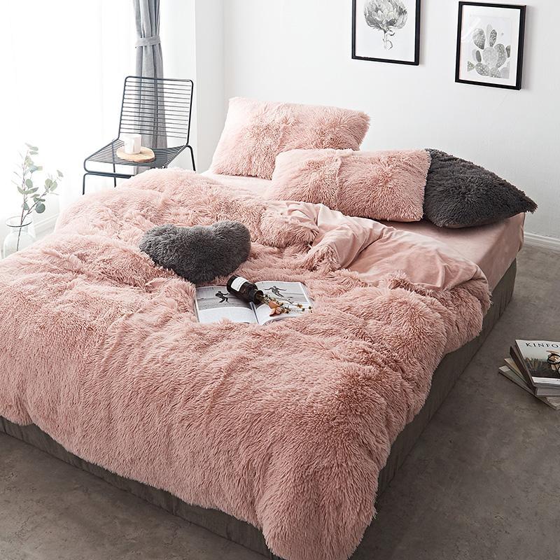 40Pink White Fleece Fabric Winter Thick 20 Pure Color Bedding Set Mink Velvet Duvet Cover Bed sheet Bed Linen Pillowcases 4/6pcs