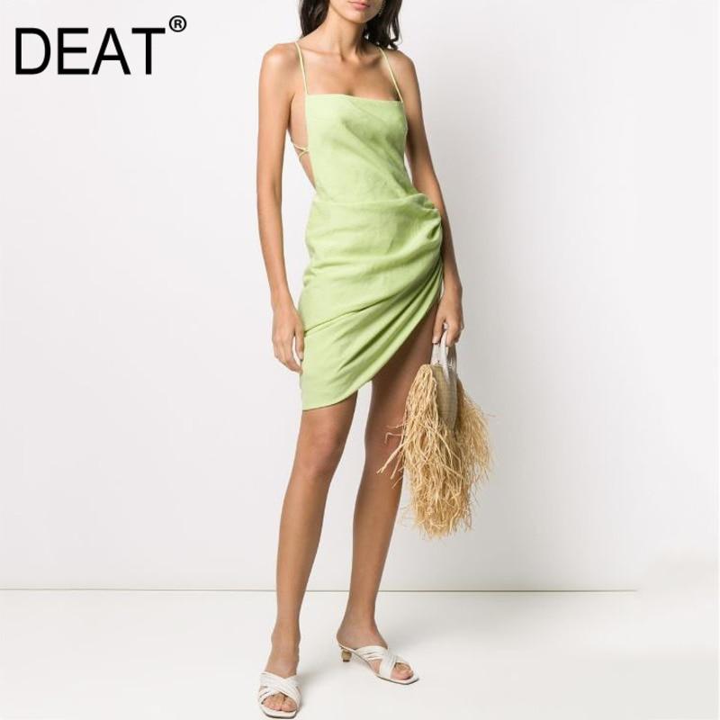 DEAT 02021 جديد الصيف الأشرطة غير المتكافئة مغطاة الوركين الرباط مثير عطلة فستان فتاة ملابس النادي WL94206L