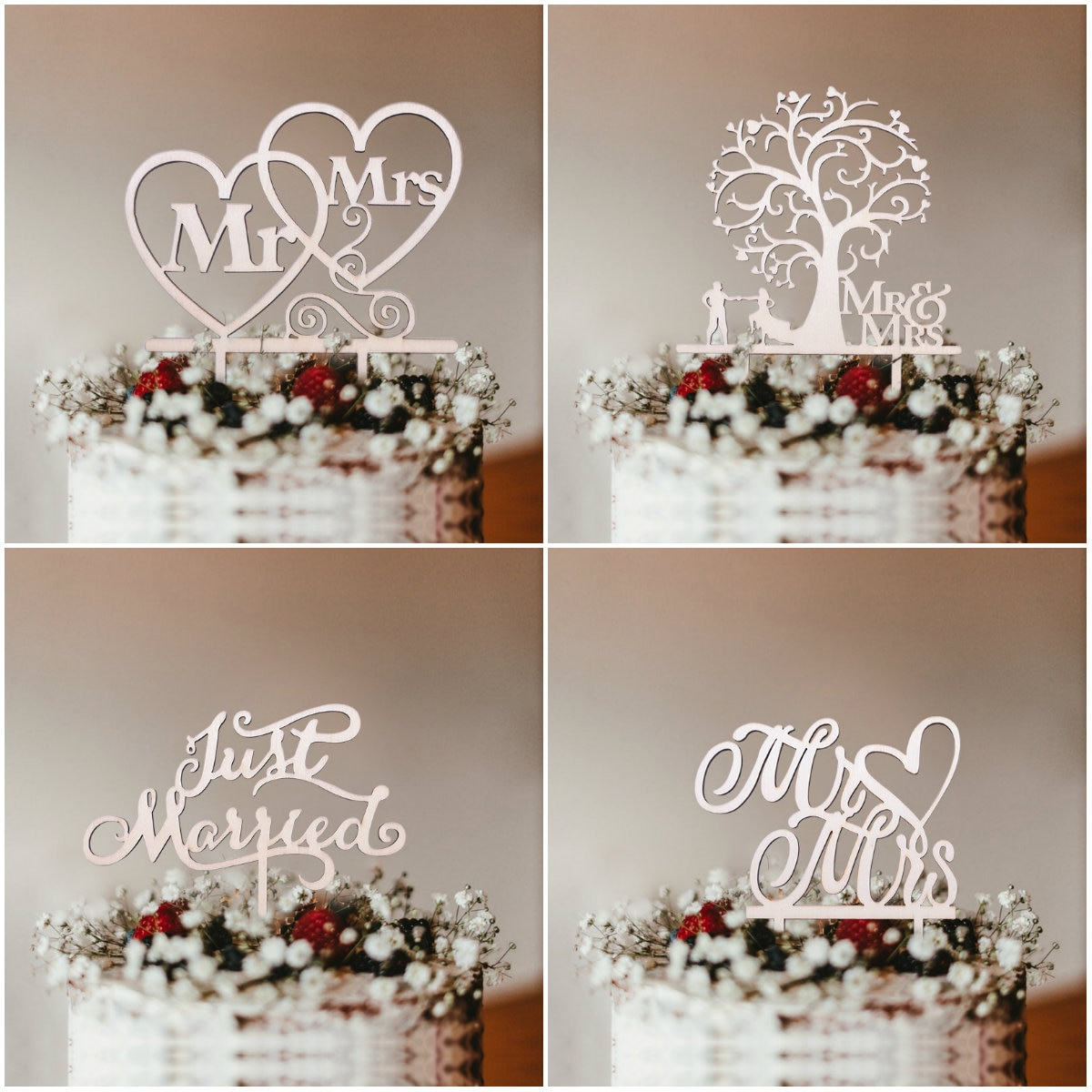 1Pcs Hollow Letter Love Just Married Mr&Mrs Cake Topper Bride and Groom Wooden Wedding For Party Supplies