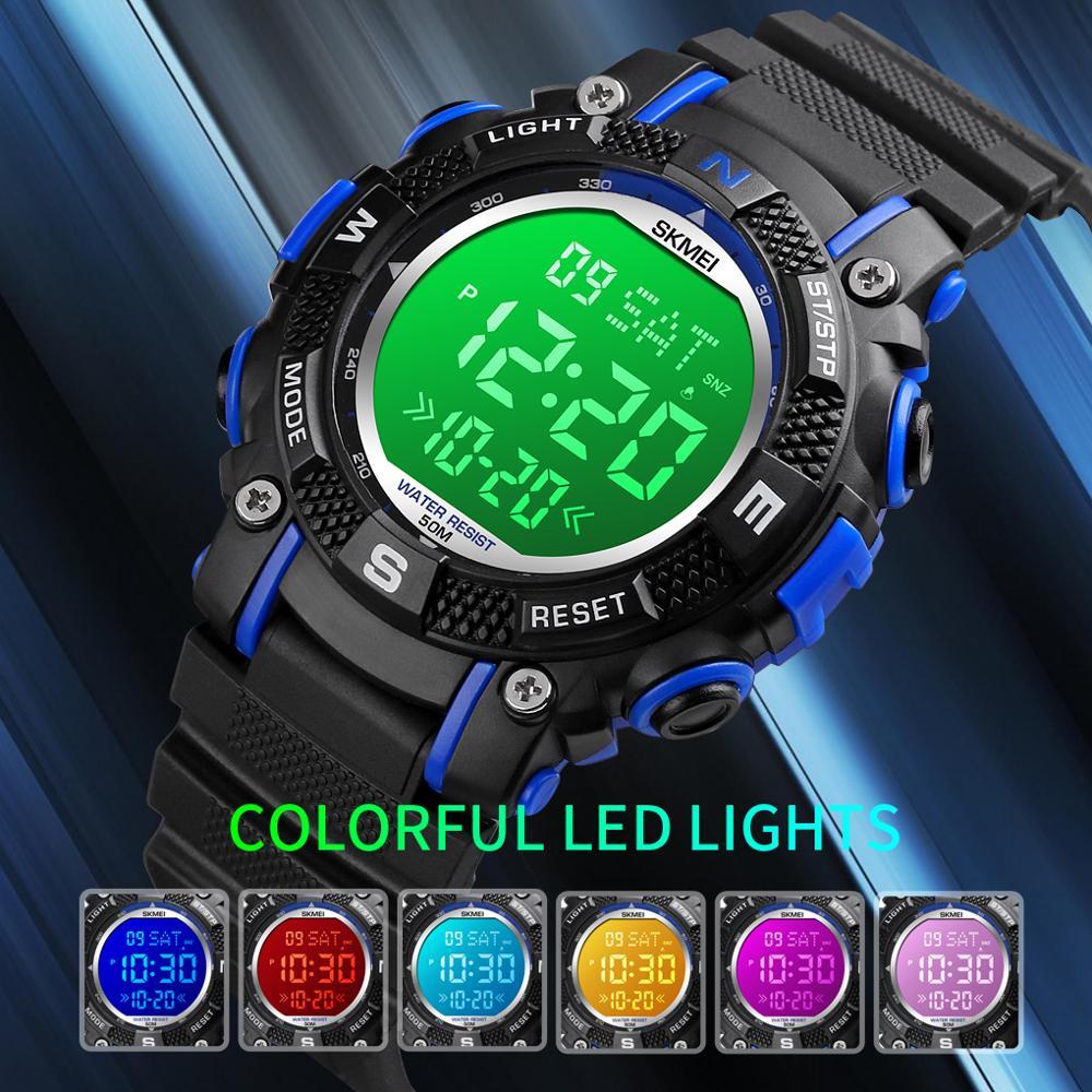 SKMEI Brand Kids Watches 2 Time LED Digital Children Watch Sport Waterproof Boys Girls Alarm Clock Montre Enfant Hour Wristwatch