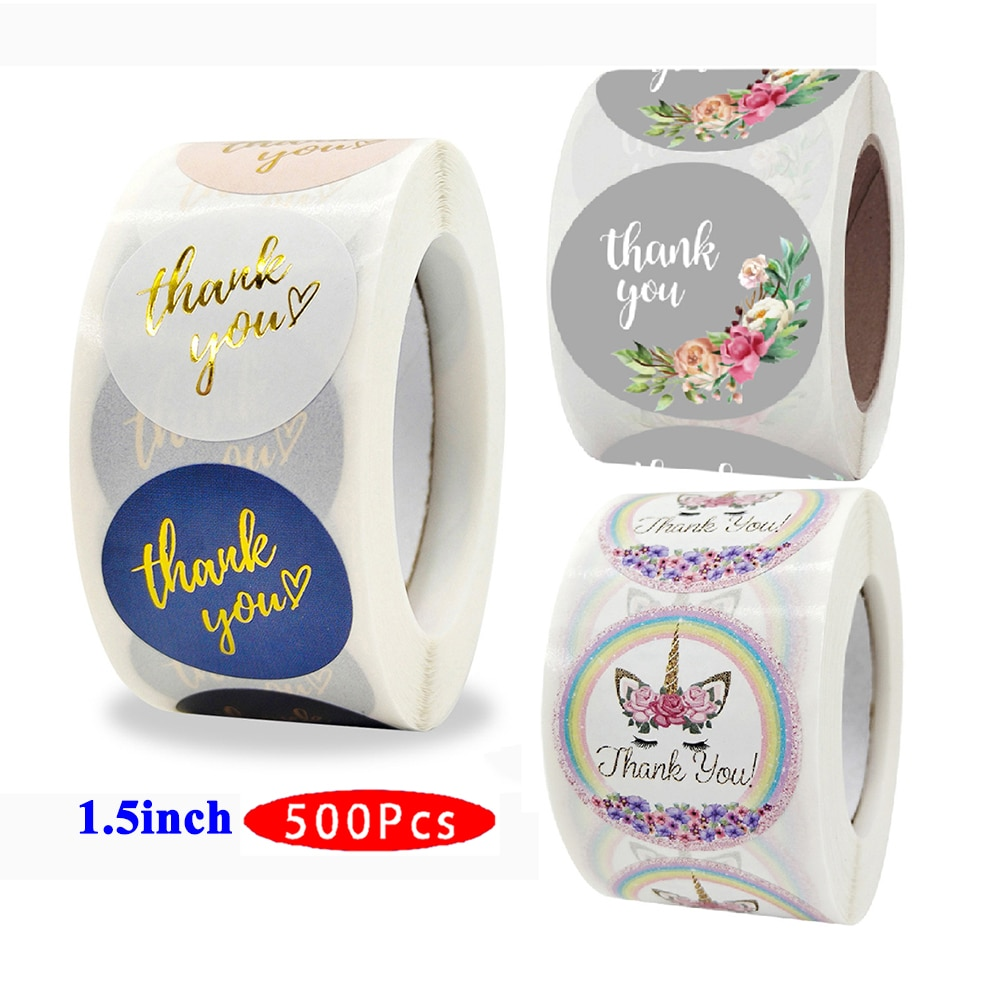 1.5inch 500Pcs Creative Kawaii Flower Thank you Stickers Vintage Cute Stationery Aesthetic Label Scrapbooking Seal Gift Package