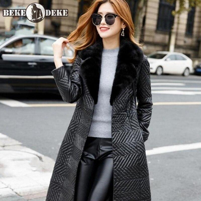 Luxury Women Real Leather Jacket Autumn Winter Slim Mink Fur Collar Sheepskin Long Coat Fashion Warm Office Black Overcoat