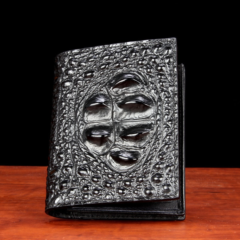 Nova carteira de crocodilo homem fundo curto vertical seção dois fratura juventude cruz couro genuíno moda masculina designer bolsas