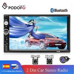 "Podofo 2din autoradio 7 ""tela de toque hd display digital bluetooth multimídia mp5 player usb 2 din rádio do carro monitor estéreo"