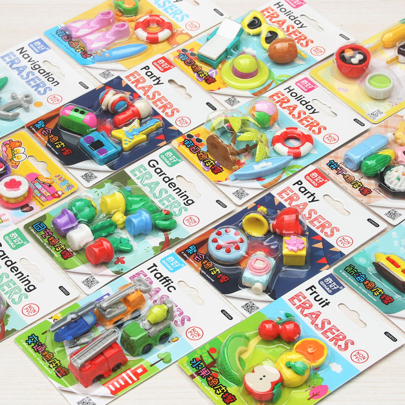 10set/lot !3D Simulation fruit/food/animal/tool/car blister-card erasers/children gift/32 model for choice