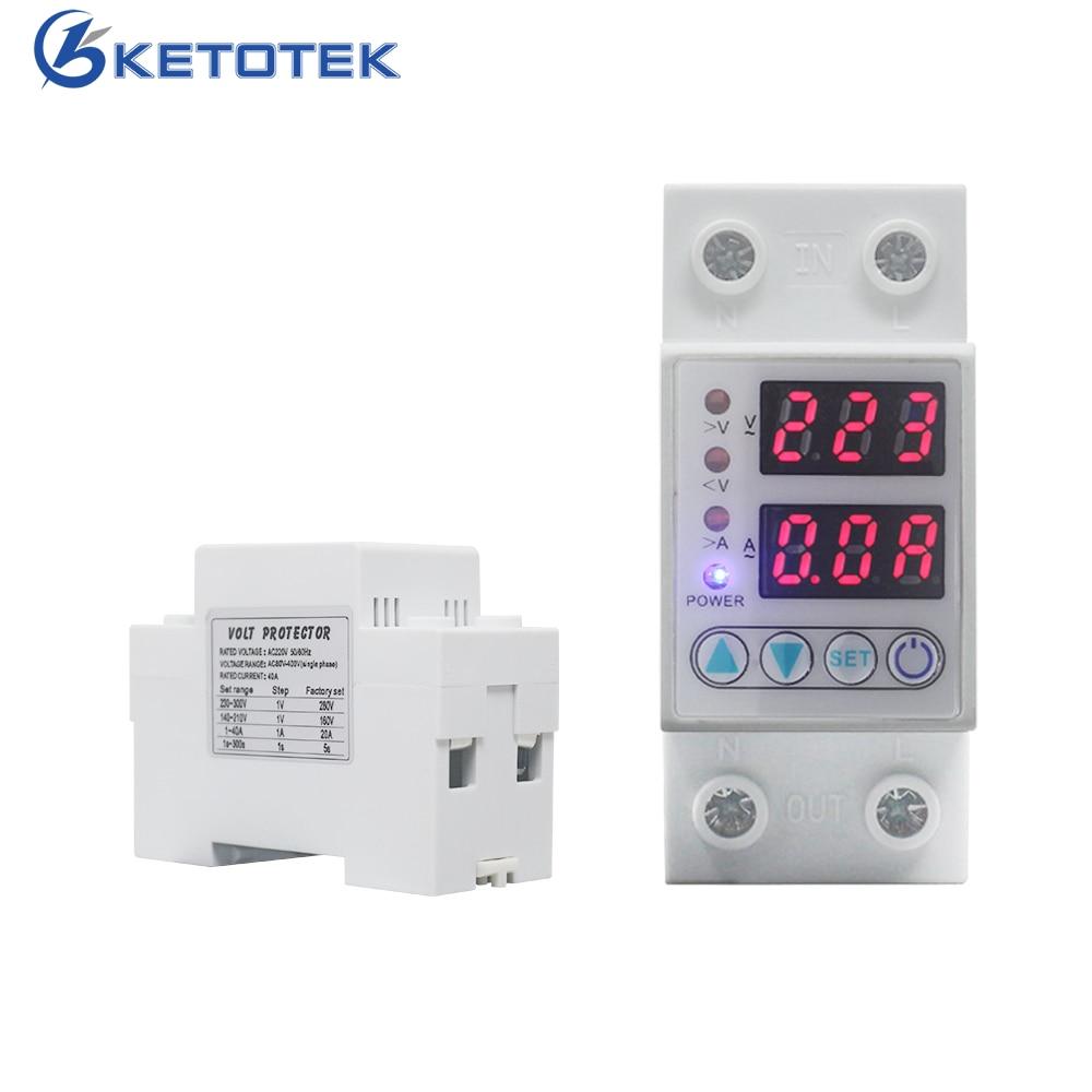 Voltímetro amperímetro Digital Din, 63A/40A, 220V CA, amperímetro de energía ajustable con protección de corriente limitada