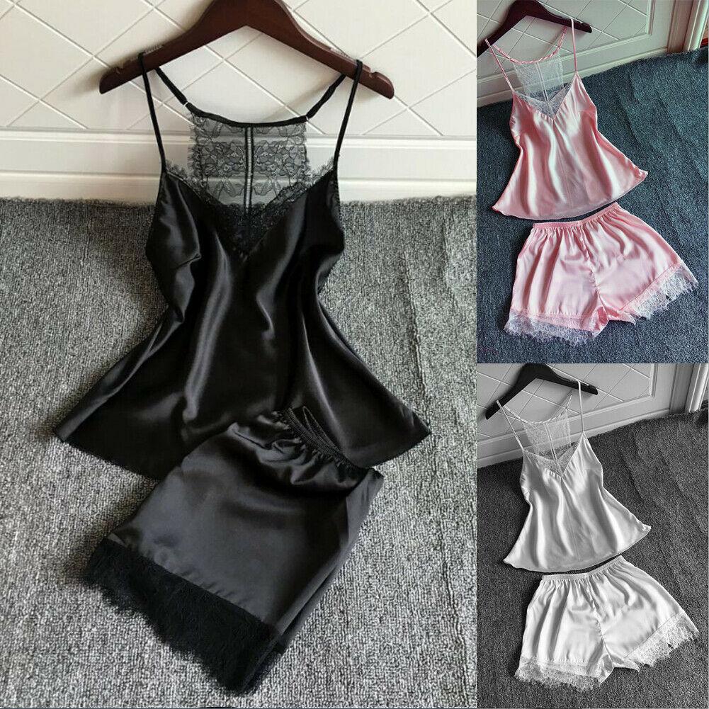 New trendy sexy sleeveless lace soliid 2pcs/set Women Silk Satin Lace Robe Shorts Nightdress Sleepwear Babydoll Pajamas