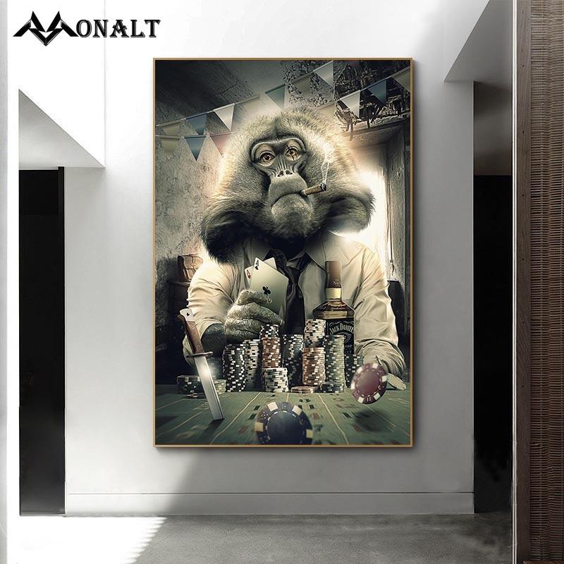 худи print bar abstract agressive monkey Graffiti Art Smoking Monkey Playing Cards Billiard Room Bar Canvas Painting Abstract Animal Wall Art Posters Parlor Decoration
