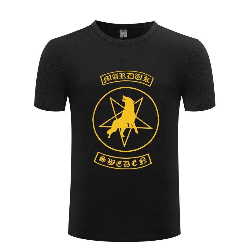 Marduk Rock-camisetas de manga corta para hombre, Camisa de algodón con cuello...