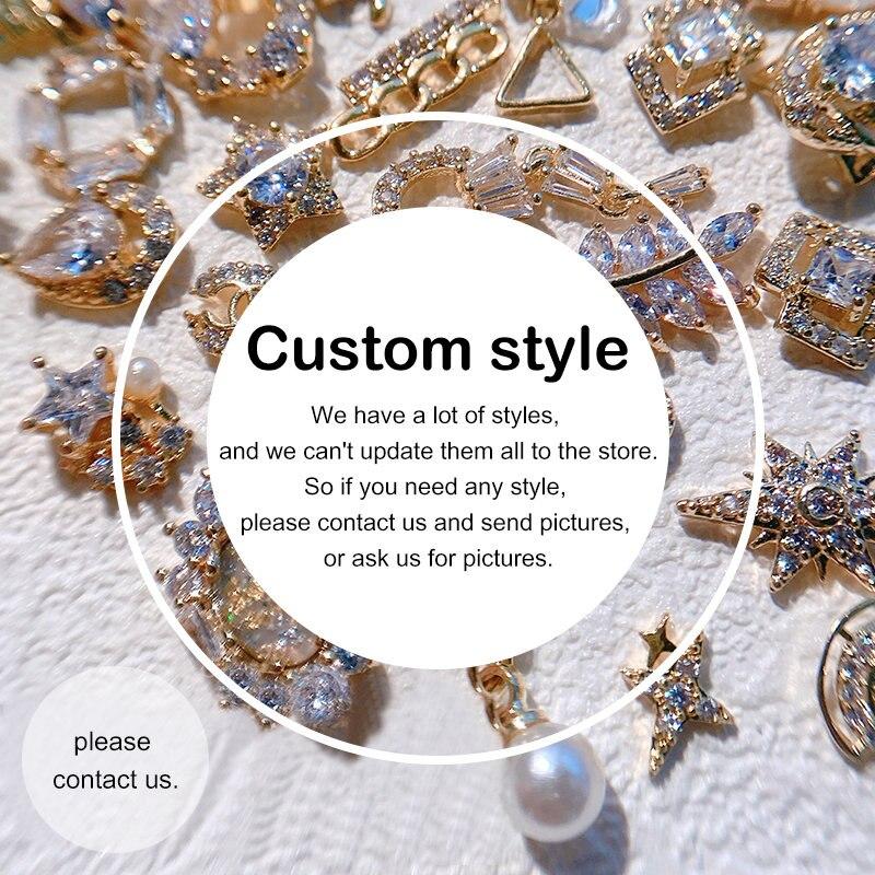 10 unids/lote estilos personalizados 3D de aleación de Zircon arte de uñas...