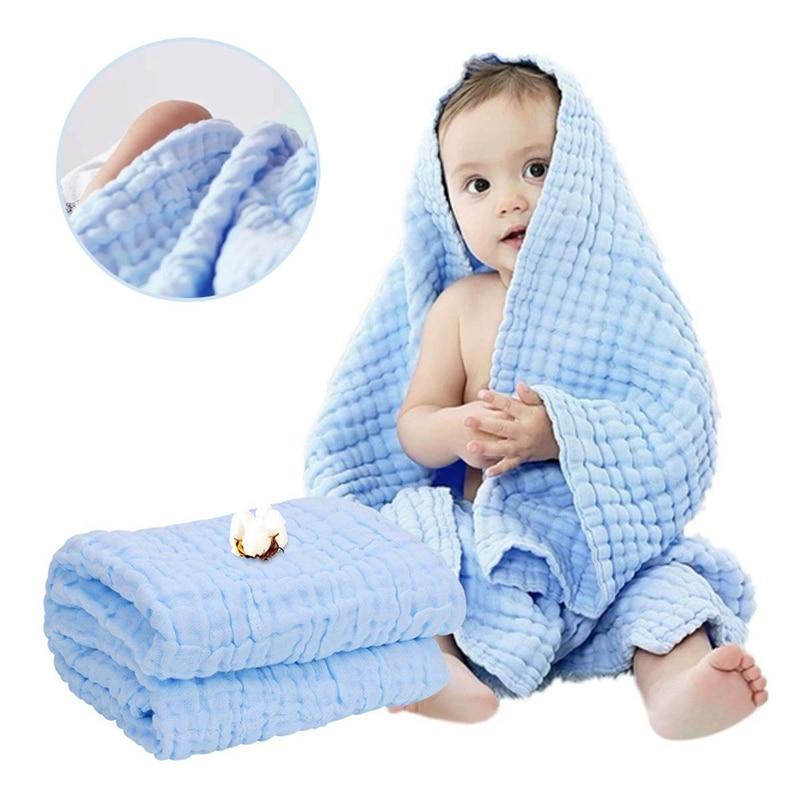 Toalla de gasa de 6 capas para bebé, toalla de paño de guardería, Toalla de baño para bebé, pañuelo de algodón, paño suave y absorbente