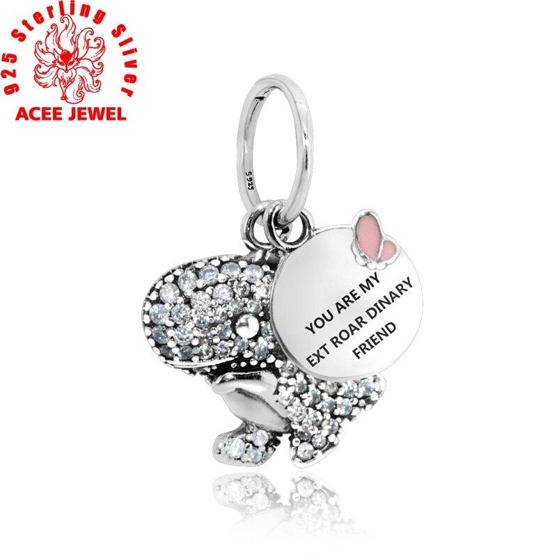 2019 nouveauté 925 perles en argent Sterling pavé dinosaure pendentif breloques ajustement Original Bracelets femmes bijoux à bricoler soi-même
