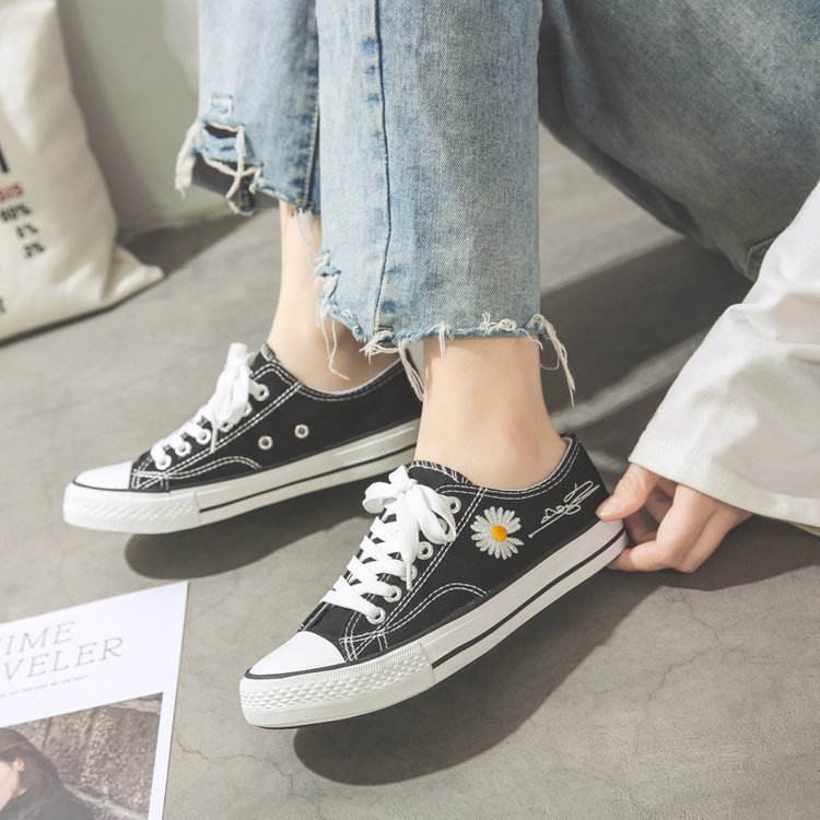 Low-cut shoes all-match student white shoes female daisy canvas shoes fashion all-match personality trend simple and comfortable