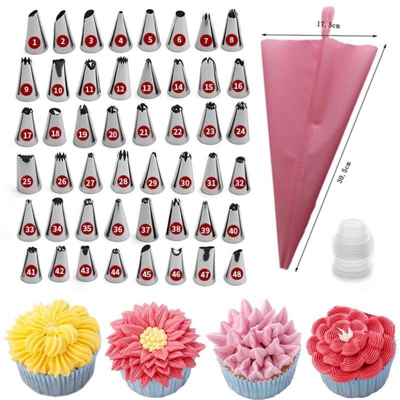 DIY Набор наконечников для украшения торта, розовый Силиконовый кондитерский мешок, 48 сопло из нержавеющей стали, конвертер, инструмент для у...