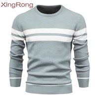 new spring mens sweater o neck pullover patchwork long sleeved bottoming slim sweater male casual fashion sweater male clothing