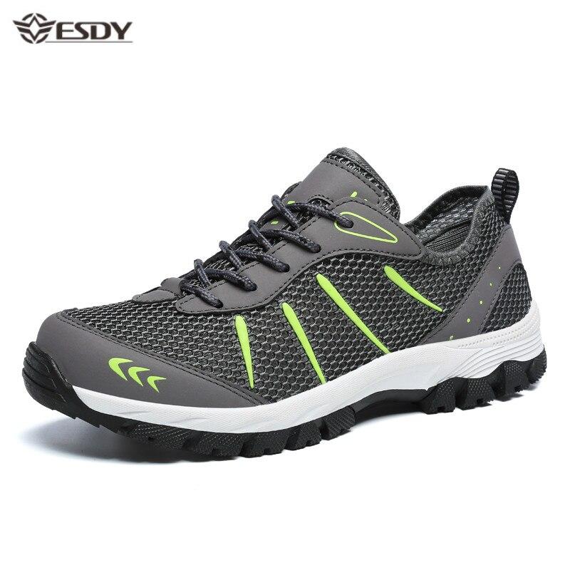 Zapatillas de deporte de los hombres zapatos informales transpirables de los hombres de encaje de malla-cómodo caminar al aire libre calzado de moda calzado deportivo hombre de talla grande 48