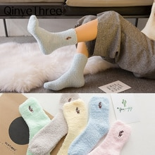 Embroidery CAT Deer Thickening women cotton Lovely Plush Keep Warm Sleep ladies funny cute Socks Winter kawaii hosiery Dropship