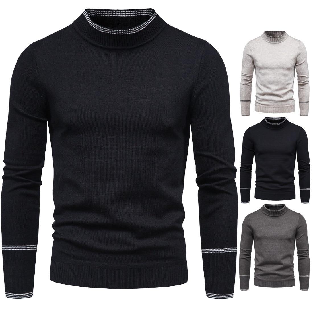 Мужской свитер, новинка 2021, однотонный вязаный пуловер, мужской повседневный зимний черный свитер с длинным рукавом и высоким воротником дл...