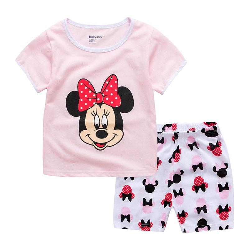 Пижамы для мальчиков и девочек летние хлопковые пижамы с мультипликационным