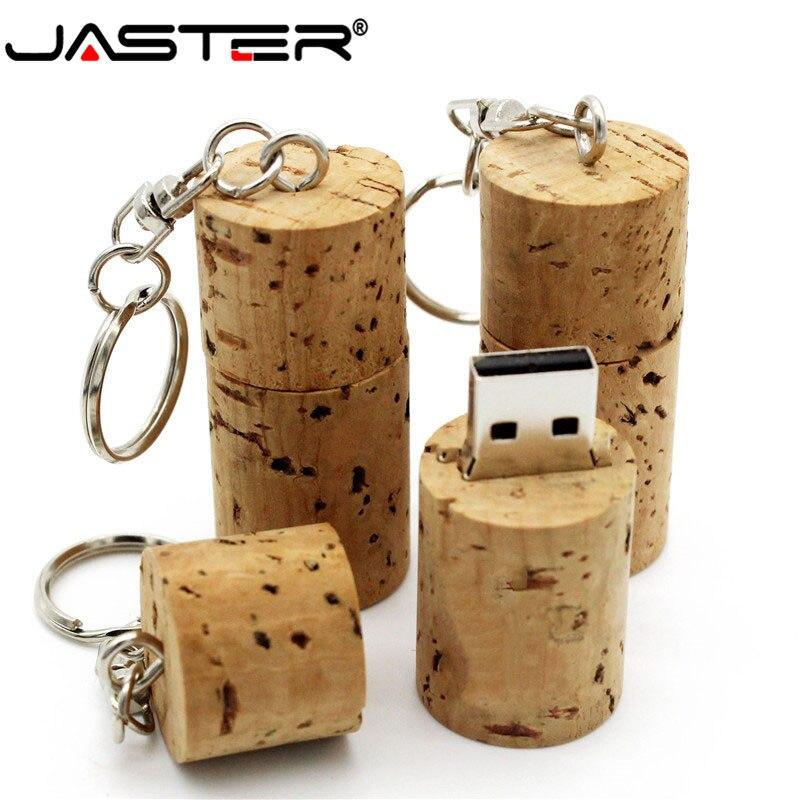 JASTER de madera de corcho USB flash drive de madera botella de madera pendrive 16GB 32GB memoria stick personalidad logo personalizado con llavero