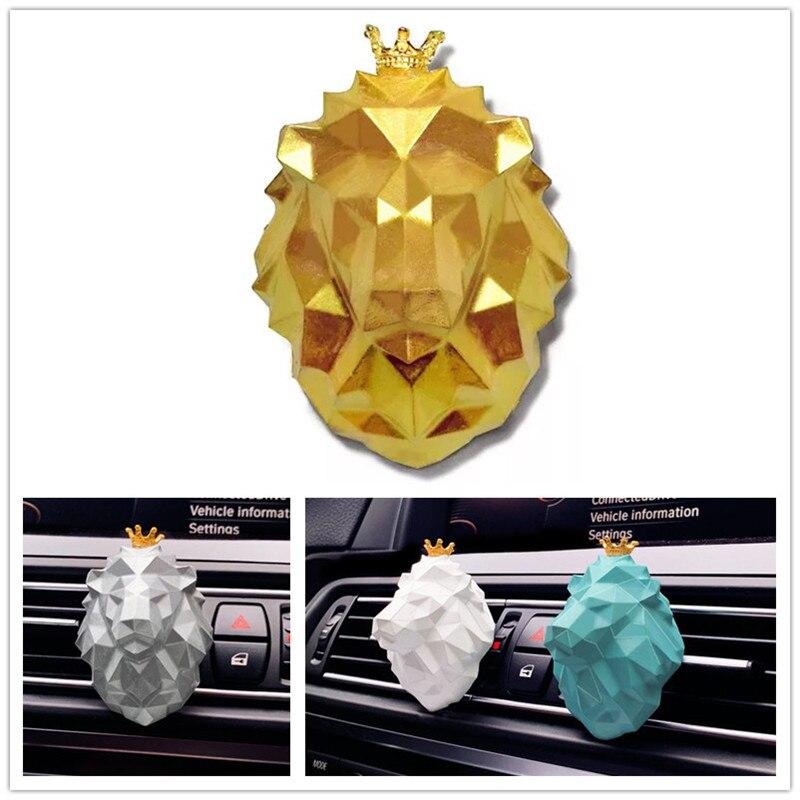 Fragrância carro Leão 3D Geométrica Animais Avatar Aromaterapia Difusor do Óleo Essencial de Gesso Pedra Enfeites de Carro da Saída de Ar do Difusor