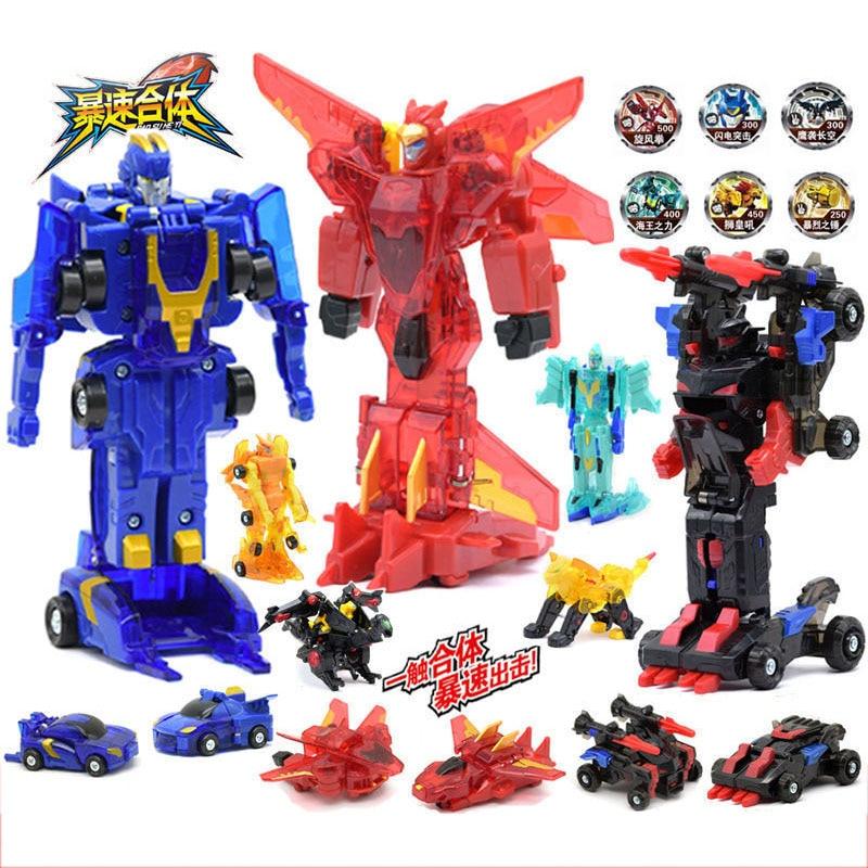 Экшн-фигурки, роботы-трансформеры, робот Игрушечная машина скорости, сливаются, трансформируются, игрушка для детей, подарок на день рожден...
