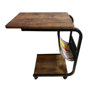 End Table with Rolling Wheels Couch Table Bed Side Table C Shaped Table for Living Room Bedroom