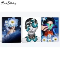 Triptych FS6917-5D peinture diamant bricolage   Fleurs papillon de fille  fleurs 3D  carre rond  broderie de diamant  point de croix  decoration de maison