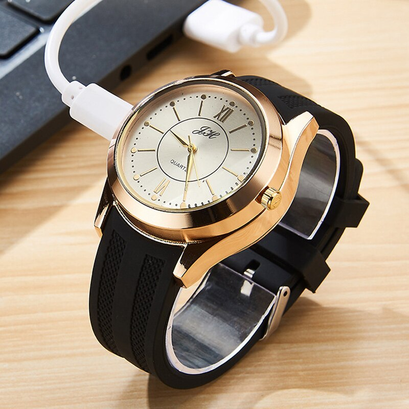New 2020 Men's Watches Fashion USB Charging Lighter Watch Windproof Electronic Cigarette Lighter Relogio Masculino Reloj Hombre