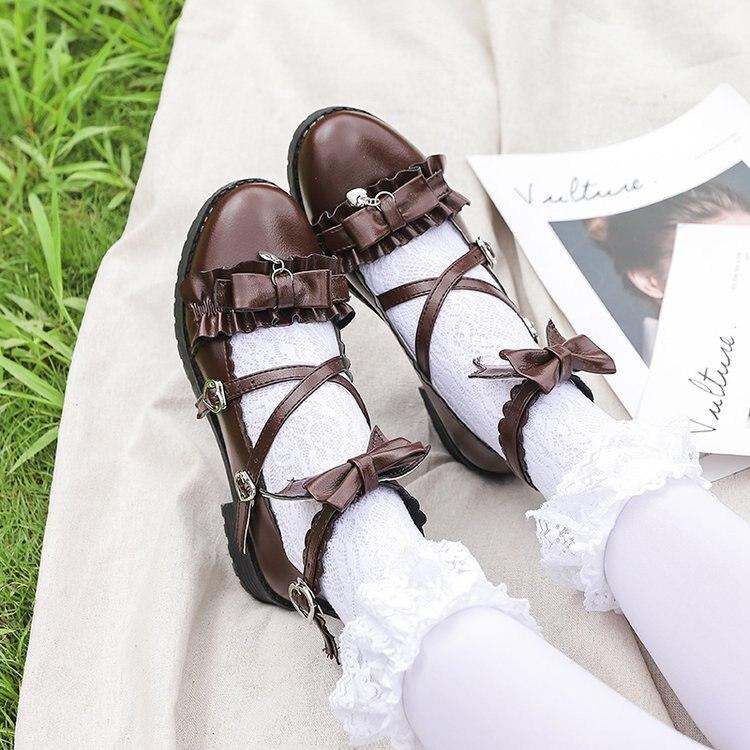 Zapatos de verano para chicas, de estilo japonés, con azo de lolita, boca baja, baja, boca baja, extensión para fiesta de té, cabeza redonda, suaves, para estudiantes