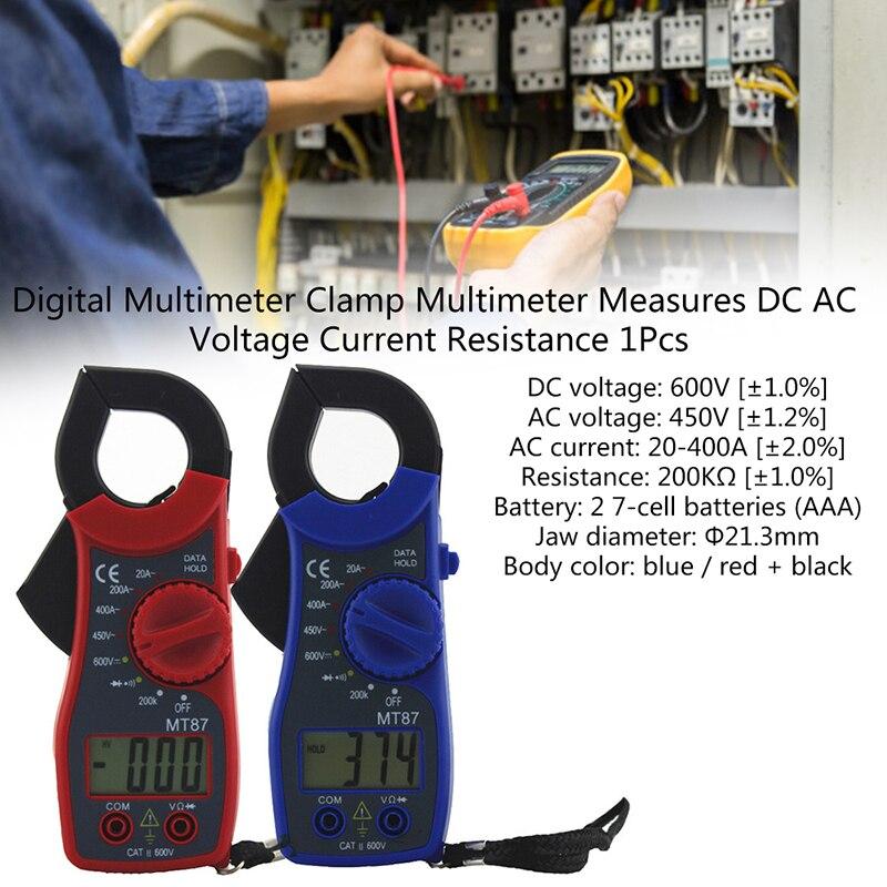Digital Clamp Multimeter Amper Clamp Meter Test Current Clamp AC/DC Current Voltage Transitor Tester Power Meter